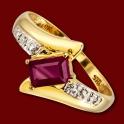 Prsten zlatý, rubín, diamanty