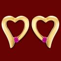 Náušnice zlaté, rubíny, srdce