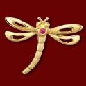 Přívěsek zlatý, rubín, vážka