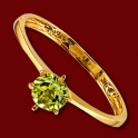 Prsten zlatý, peridot, zásnubní