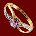 Prsten zlatý, ametyst, diamanty
