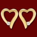 Náušnice zlaté,  diamanty, srdce