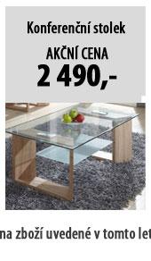 Konferenční stolek VLASTA, dub + sklo