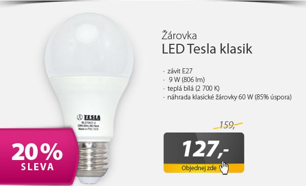 Žárovka LED Tesla klasik, 9W, E27, teplá bílá