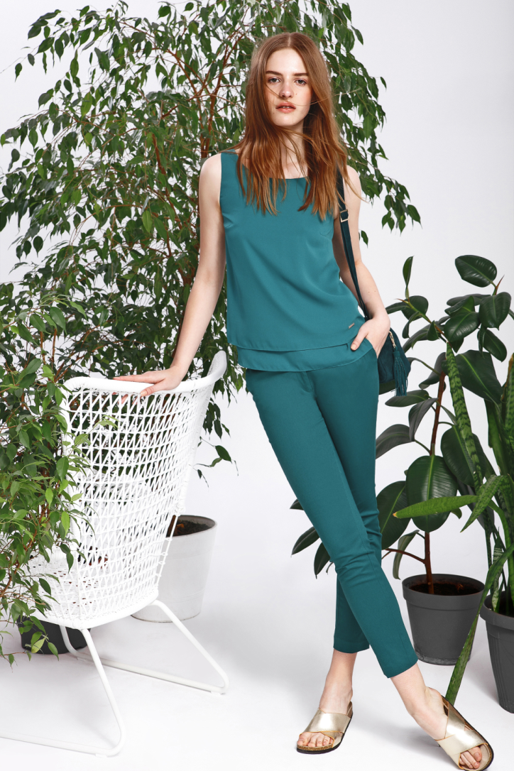 Kalhoty dámské zelené